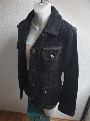 Biaggini Sztruksowa kurtka czarny Tkanina z mieszanych włókien