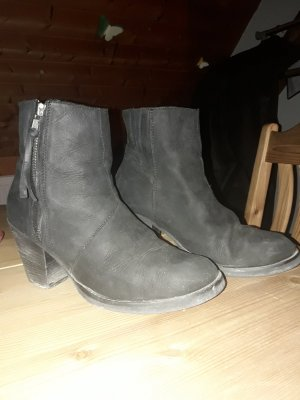 Booties black-silver-colored