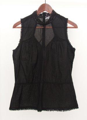 Schwarze Ärmellose Bluse mit Mesheinsatz