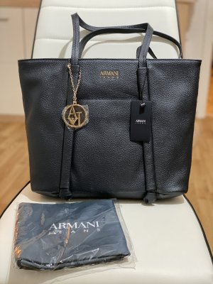 Armani Jeans Shopper zwart Leer