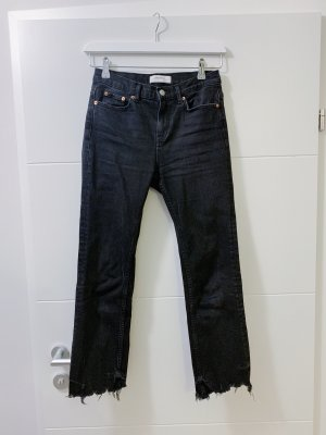 Schwarze ausgestellt Crop-Jeans | ZARA | 34