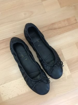 Foldable Ballet Flats black leather