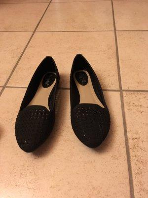 Schwarze Ballerinas/ Slipper mit Göitzersteinchen