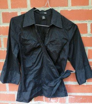 Schwarze Basic Bluse H&M Dreiviertelarm XS