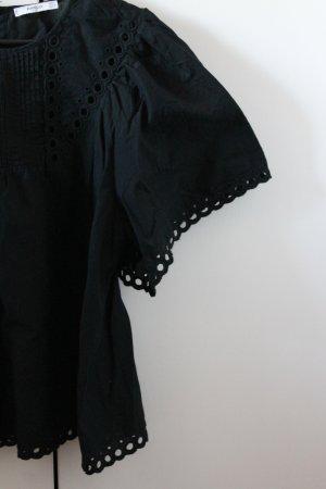 Schwarze Baumwollbluse mit Lochmuster