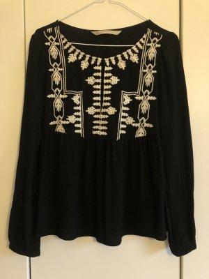 Zara Trafaluc Blusa de manga larga negro-crema