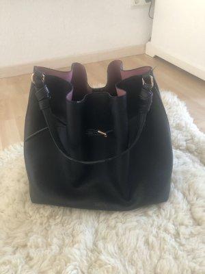 H&M Basic Torebka typu worek czarny-w kolorze różowego złota
