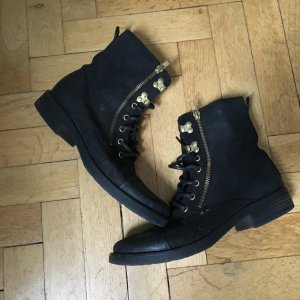 Bianco Lace-up Boots black suede