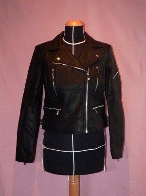 Schwarze Bikerjacke im coolen Seventies-Style - Größe M