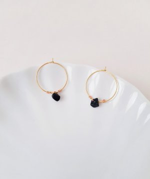 Ear Hoops black-gold-colored