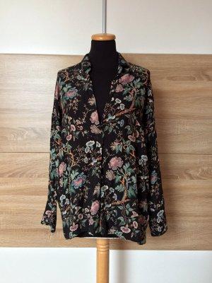 Schwarze Blumen Asia Bluse von Zara, Gr. XS