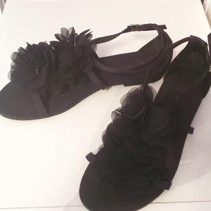 Schwarze Blumen Sandalen