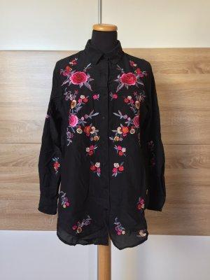 Schwarze Blumen Stickerei Bluse, Hemd Kleid Seide von Zara, Gr. S