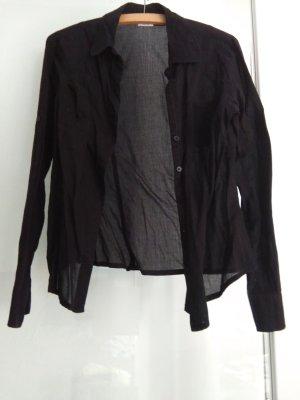 Basic Line Transparent Blouse black cotton