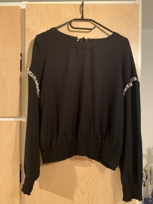 Zara Blusa collo a cravatta nero