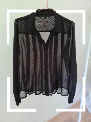 Schwarze Bluse, durchscheinend, Gr. 38