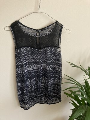 Schwarze Bluse mit abstraktem Muster