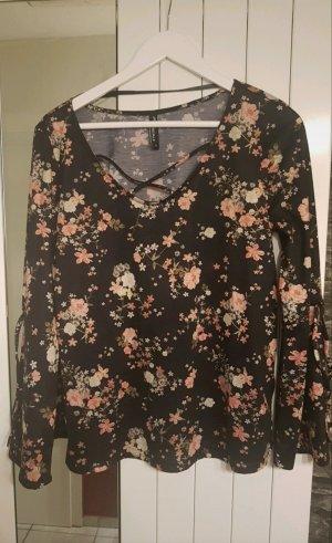 Schwarze Bluse mit Blumenmotiv