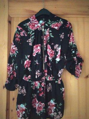 Schwarze Bluse mit Blumenmuster M
