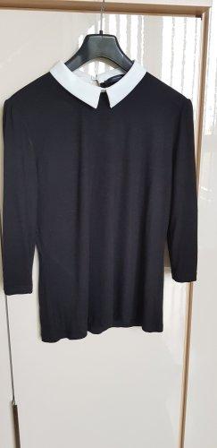 Schwarze Bluse mit Bubikragen