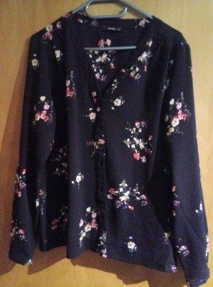 schwarze Bluse mit bunten Blumen von Only