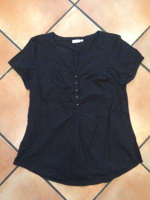 Schwarze Bluse mit goldenen Knöpfen, Gr. 40, Laura Torelli