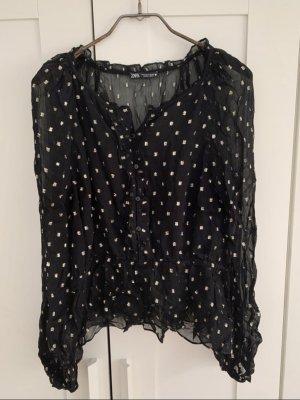 Zara Woman Blouse en dentelle noir-brun sable polyester