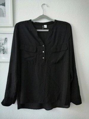 Schwarze Bluse mit Knopfleiste in Gr. 38 von H&M