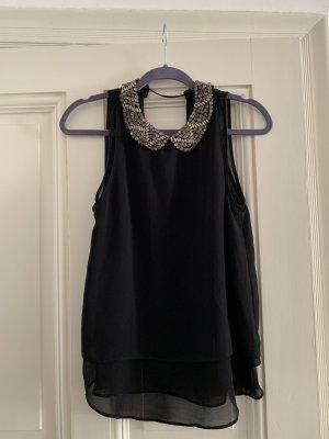 Schwarze Bluse mit Pailletten Kragen
