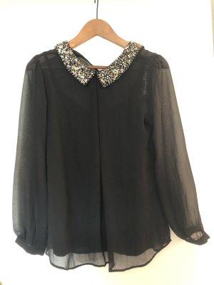 Schwarze Bluse mit Paillettenkragen Gr.36