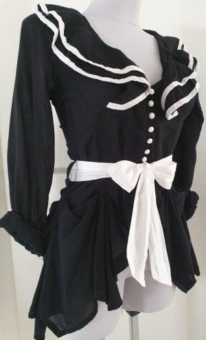 Schwarze Bluse mit Paspeln