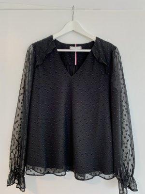 Schwarze Bluse mit Punkten