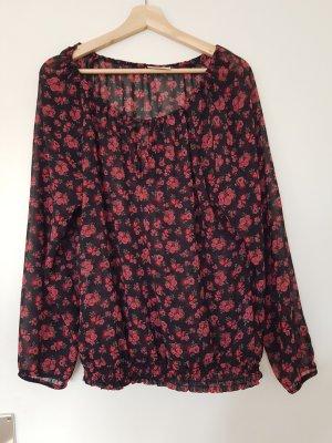 Schwarze Bluse mit Rosen