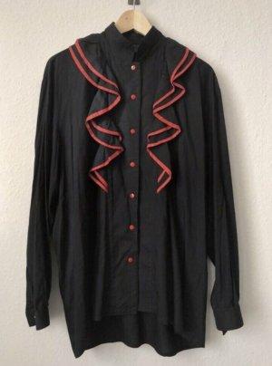 unbekannte Ruffled Blouse black-red