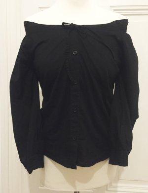 Schwarze Bluse mit Schleife und Gummibund von Tom Tailor