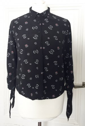 Schwarze Bluse mit Schleifen an den Ärmeln, Katzenmotiv & Always Happy Slogan