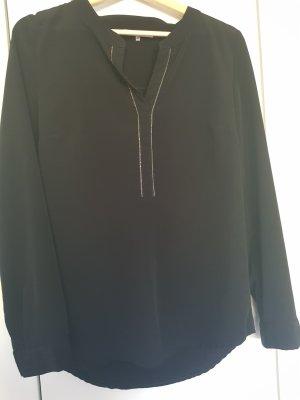 schwarze Bluse mit silber Absatz vorne