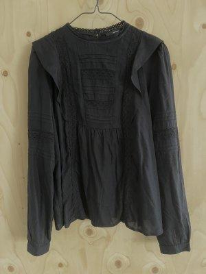Schwarze Bluse mit Spitze und Stehkragen