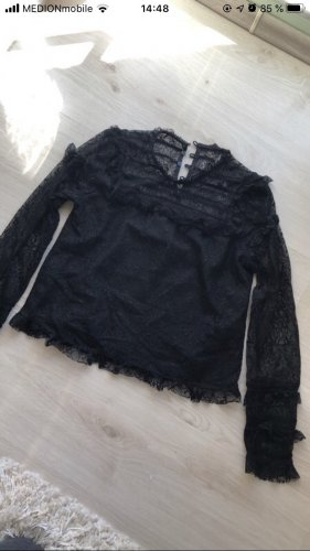 Schwarze Bluse mit Spitze Zara in XS