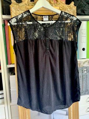 Schwarze Bluse mit Spitzendetail