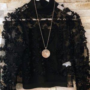 Schwarze Bluse mit Trägertop Gr.36