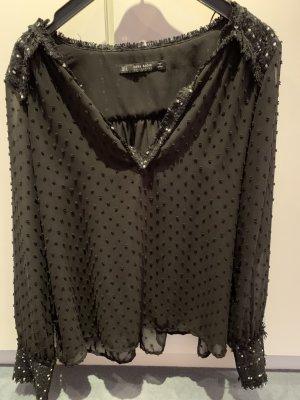 schwarze Bluse mit Tweed