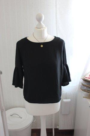 schwarze Bluse mit Volantärmeln von H&M