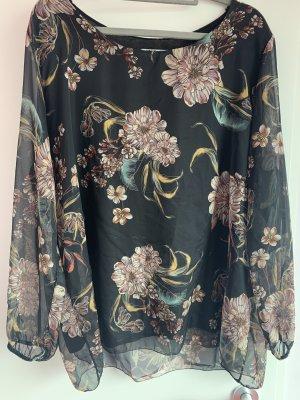 schwarze Bluse mit zartem Blumenaufdruck