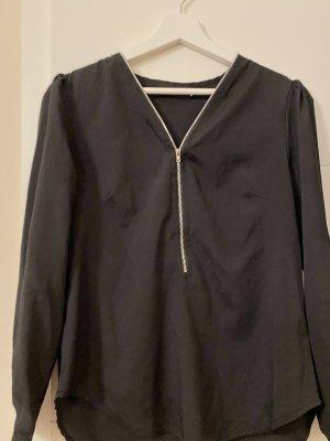 Schwarze Bluse mit Zipp