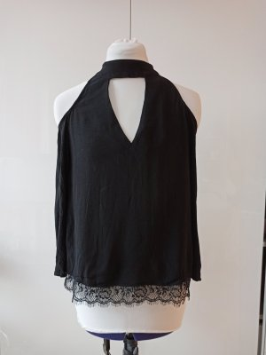 schwarze Bluse spitze Mango S Keyhole