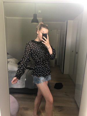 Zara Blusa con volantes negro-blanco
