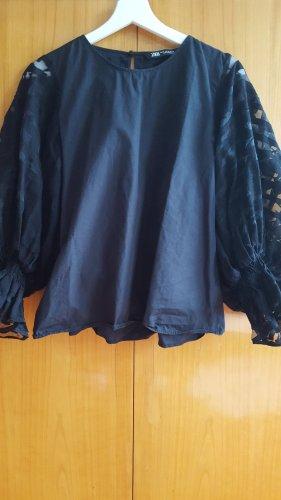 schwarze Bluse von ZARA mit extravaganten Puffärmeln / Ballonärmeln / M / neu