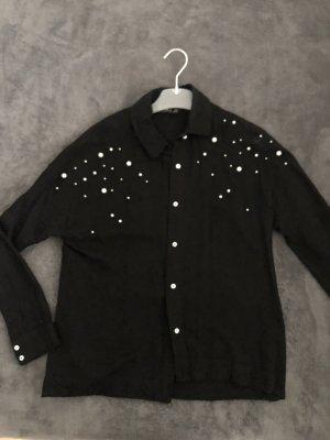 Schwarze Bluse von Zara mit Perlen bestickt