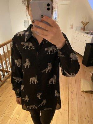 Schwarze Bluse Wildkatzen